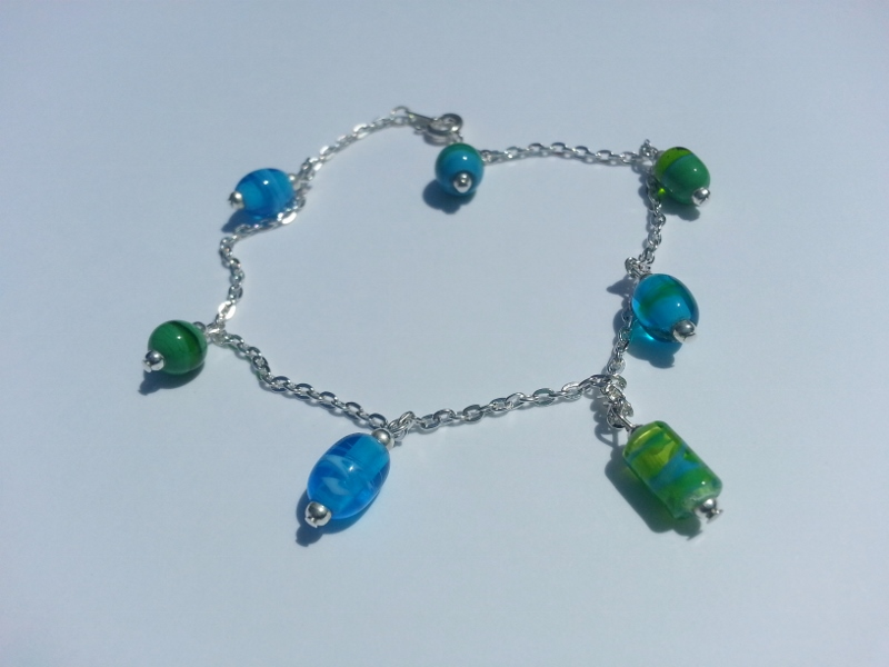 glass anklets turquoise bezeled sea anklet for sale product